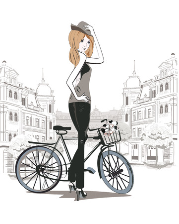 Fashion girl in a hat on a bicycle in the streets of the old city 向量圖像