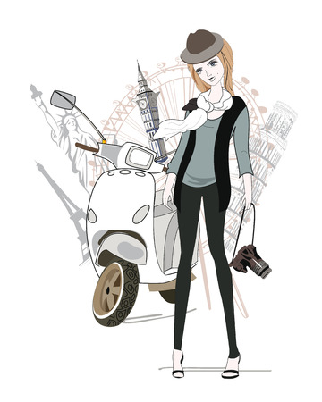 Fashion girl with a camera travels around the world sights, on a scooter Vector