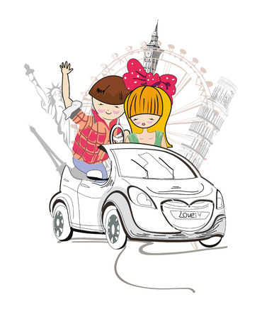 Sketch of romantic couple, cartoon boy and girl, traveling in a car