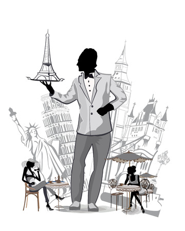 Travel choices. Silhouettes of sights in Europe. Waiter with a tray. Girls sitting at the cafe tables. Vector