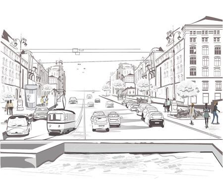 Series of sketches of beautiful old city, traffic