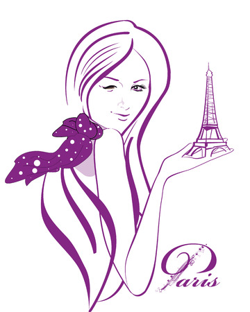 Beautiful woman in a polka dot scarf with the Eiffel tower in Paris Stock Illustratie