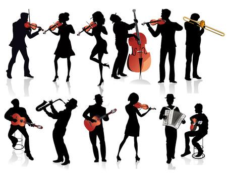 violinista: Conjunto de siluetas de músicos