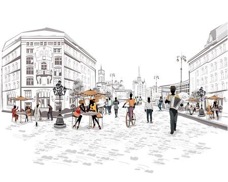 m�sico: Serie de la calle con la gente y los m�sicos de la ciudad vieja
