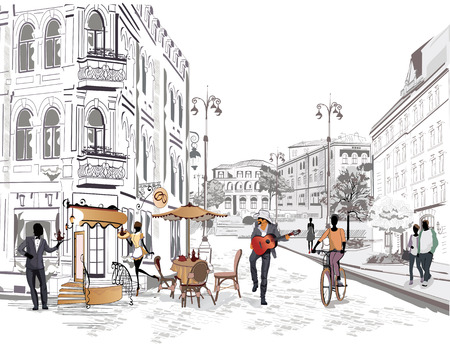 pareja comiendo: Serie de la calle con la gente y los músicos de la ciudad vieja