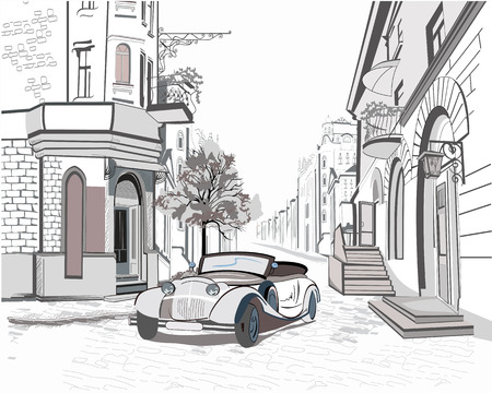 pencil set: Series of street views in the old city with a retro car Illustration