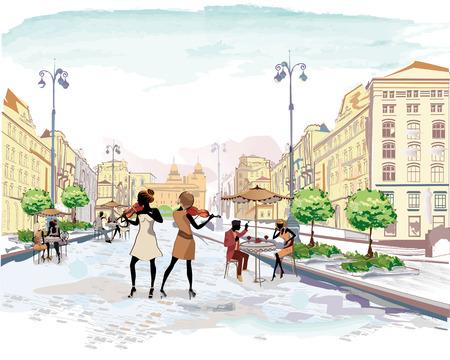 violinista: Serie de las calles con la gente en la ciudad vieja, m�sicos callejeros, con violines, ejemplo de la acuarela vector