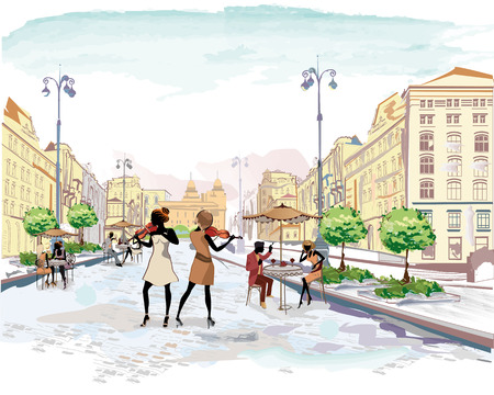 outdoor cafe: Series of the streets with people in the old city, street musicians with violins, watercolor vector illustration Illustration