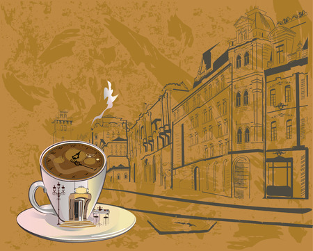 Cafe background decorated with old town views and an abstract cup of coffee with an entrance to the restaurant and clock.