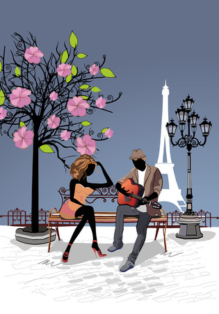 Romantic couple with a guitar sitting on the bench in the old city
