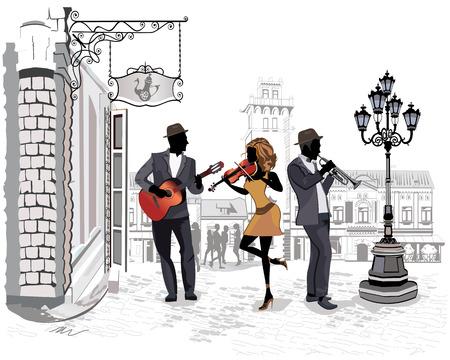 Série des rues avec des personnes dans la vieille ville, des musiciens de rue avec un violon, une guitare, une trompette Banque d'images - 38171338