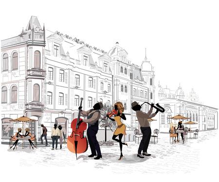 Reihe von den Straßen mit Menschen in der alten Stadt, Straßenmusikanten mit einer Violine, einer Gitarre, eine Trompete Vektorgrafik