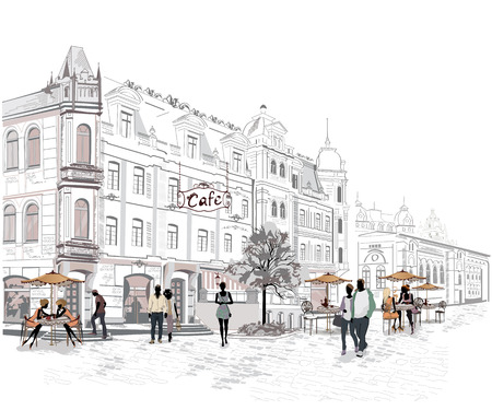 Series of the streets with people in the old city Illustration