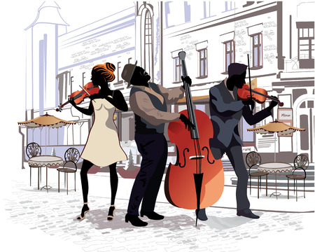contrabass: Series of the streets with people in the old city. Musicians