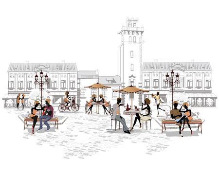 Serie van de straten met mensen in de oude stad, straat cafe