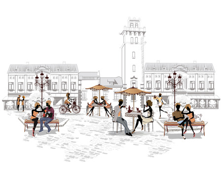 outdoor chair: Series of the streets with people in the old city, street cafe Illustration