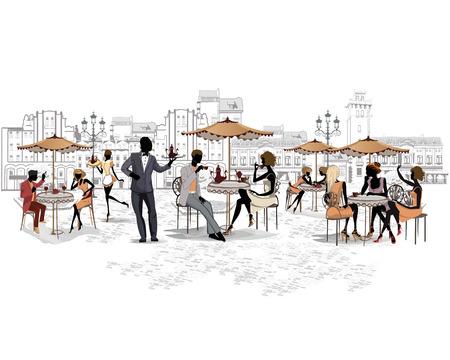 bocetos de personas: Serie de las calles con la gente en la ciudad vieja, caf� de la calle