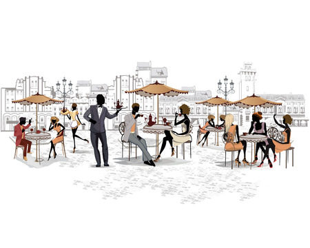restaurants: Series of the streets with people in the old city, street cafe Illustration
