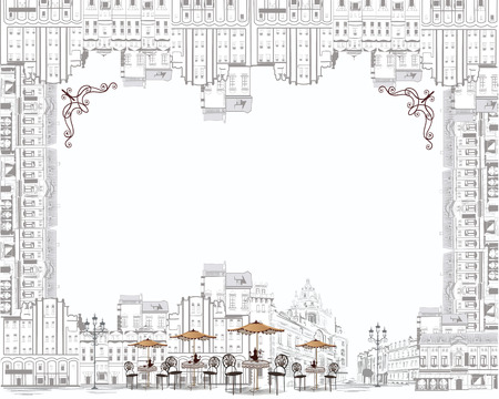 Series of sketches of beautiful old city views with cafes - coffee frame Vectores