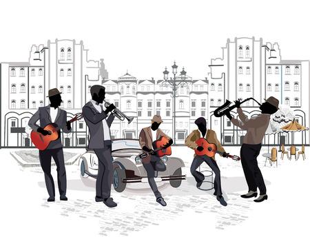 Musiciens de rue avec un saxophone, guitares, une trompette sur le fond d'un café de la rue Banque d'images - 38171350