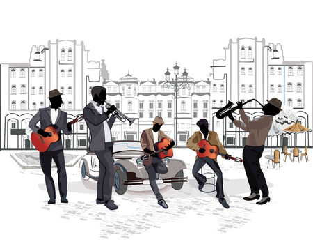 Street musicians with a saxophone, guitars, a trumpet on the background of a street cafe