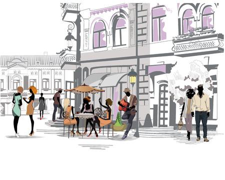 arbol de cafe: Serie de las calles con la gente en la ciudad vieja, caf� de la calle y un m�sico con una guitarra