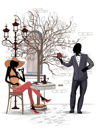 pareja comiendo: Serie de las calles con la gente en la ciudad vieja, moda mujer está bebiendo el café, un camarero
