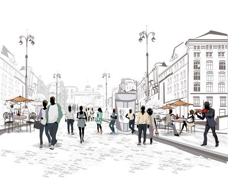 fachada: Serie de las calles con la gente en la ciudad vieja