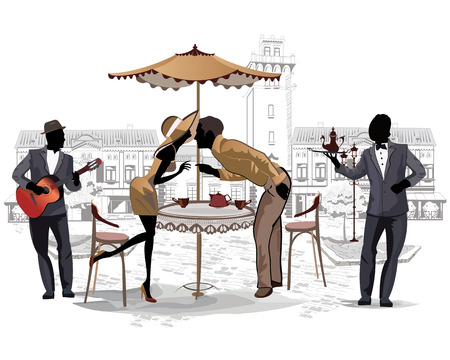musician silhouette: Series of street cafes with people drinking coffee in the old city