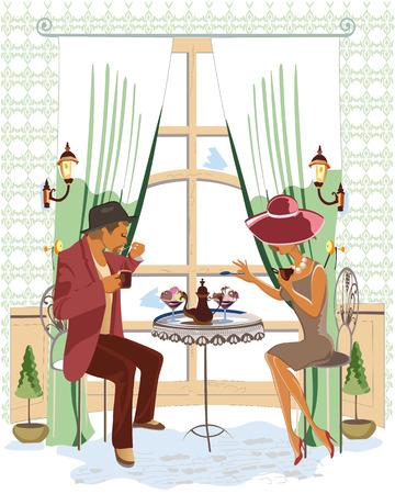 pareja comiendo: Serie de gente bebiendo café en el interior del café Vectores