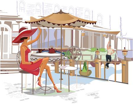 pareja comiendo: Serie de cafés de la calle en la ciudad con gente bebiendo café Vectores