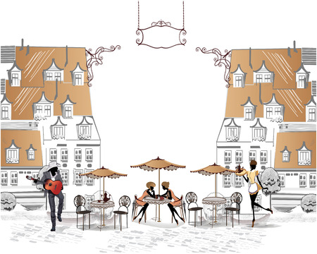 pareja comiendo: Serie de las calles con la gente en la ciudad vieja, músicos callejeros Vectores