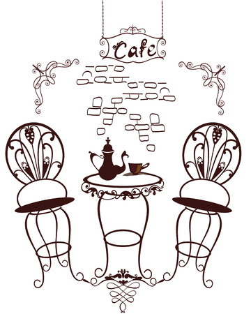 coffeepot: Cafe symbols - Vintage coffee table and chairs with a coffee-pot Illustration