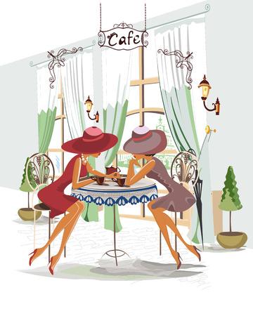 pareja comiendo: Serie de gente bebiendo café en el interior del café, las chicas de moda en sombreros Vectores