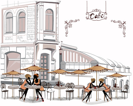 Series of street cafes with people drinking coffee in the old city