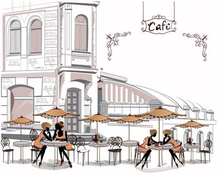 Serie de cafés de la calle con la gente que bebe café en la ciudad vieja