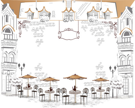 Series of sketches of beautiful old city views with cafes - coffee frame  イラスト・ベクター素材