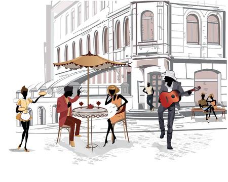 Serie de las calles con la gente en la ciudad vieja, músicos callejeros Foto de archivo - 38171499