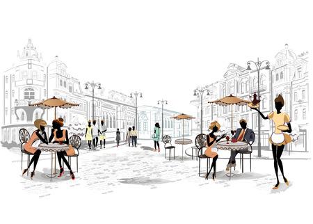 pareja comiendo: Serie de las calles con la gente en la ciudad vieja