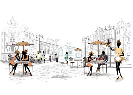 outdoor cafe: Series of the streets with people in the old city Illustration