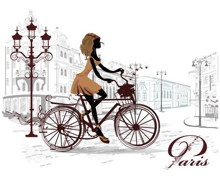 bocetos de personas: Moda niña monta una bicicleta, decorada con un bastón y mariposas musical, las calles de la ciudad vieja.
