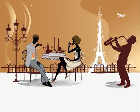Romántico café pareja bebida en el café de París con vistas a la Torre Eiffel