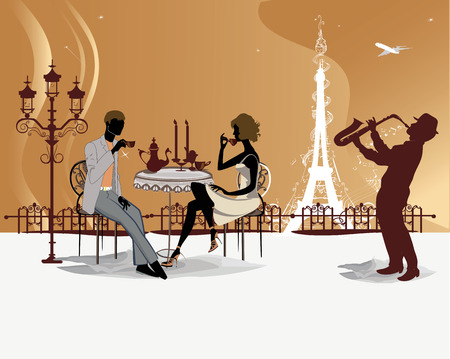 Romantic couple drink coffee in the Paris cafe with a view of the Eiffel Tower