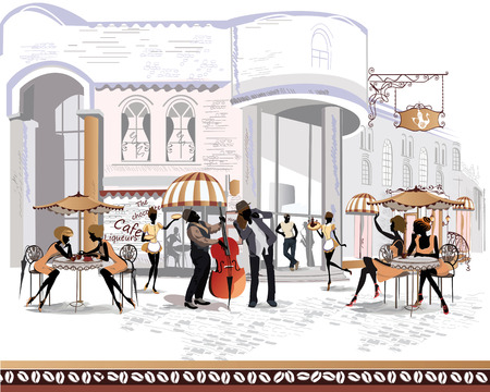 old city: Series of the streets with people in the old city Illustration