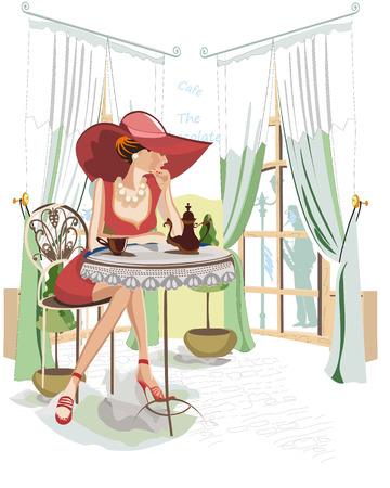 pareja comiendo: Serie de gente bebiendo café en el interior del café, la chica de moda en un sombrero