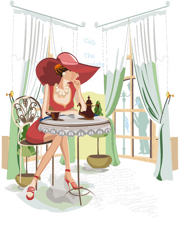 Series of people drinking coffee inside cafe, fashion girl in a hat