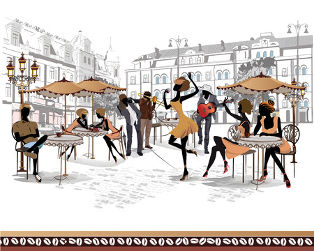 Series of the streets with people in the old city Ilustrace