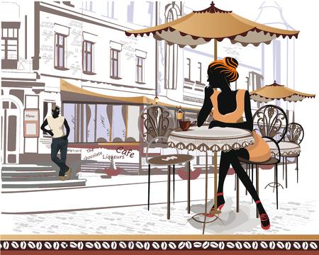 pareja comiendo: Músicos de la calle en el fondo de un café de la calle