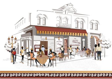 pareja comiendo: Serie de las calles con la gente en la ciudad vieja, café de la calle y un músico con una guitarra