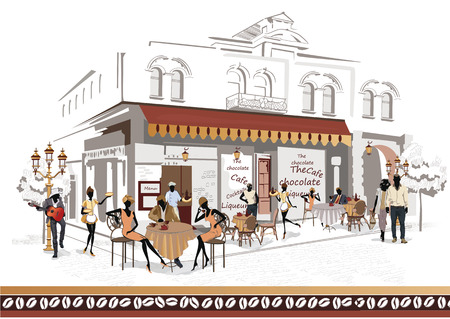 Series of the streets with people in the old city, street cafe and a musician with a guitar Illustration